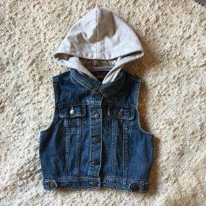 Forever 21 Gray Hooded Jean Sleeveless Crop Vest S